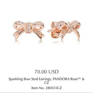 Pandora bow rose gold earrings